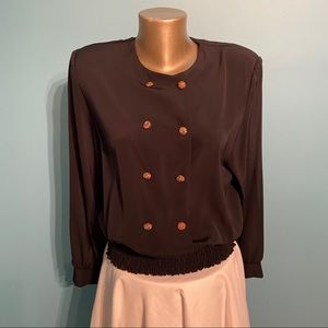 BNWT jewelled buttoned black vintage blouse